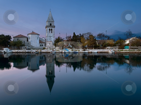 Old town at dusk stock photo, Old mediterranean towm Osor at dusk , Adriatic sea by Vladimir Koletic