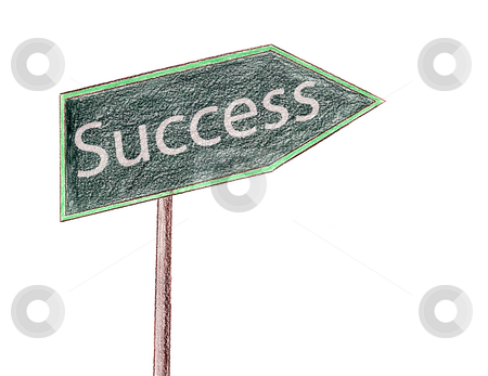 Success Sign stock photo, A pencil crayon drawing of a sign with the word