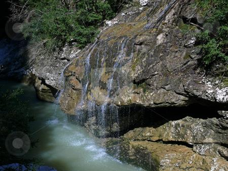 Wood stream stock photo, The wood stream runs into waters of mountain small river by Vadim Tsyba