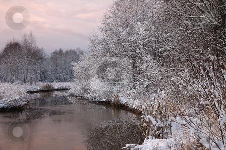 Winter river scene stock photo, Winter river scene by Turo Jantunen