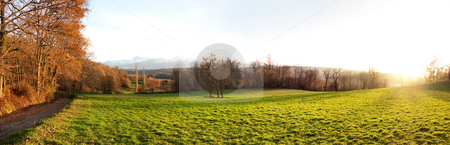 Countryside landscape stock photo, 23 megapixels panoramic view of a meadow at sunset by Laurent Dambies