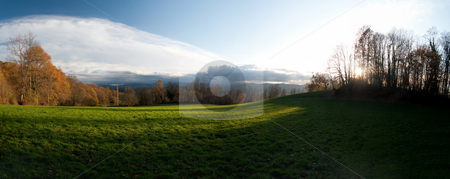 Countyside landscape stock photo, 38  megapixels panoramic view of a meadow at sunset by Laurent Dambies