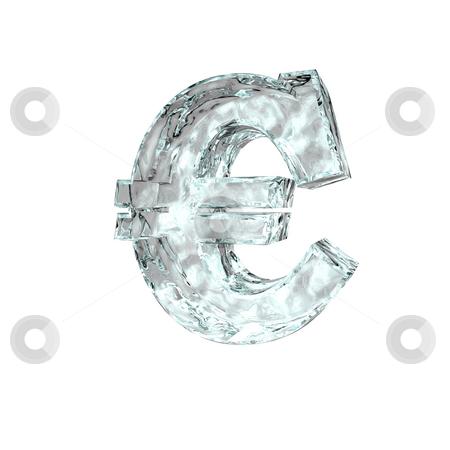 Frozen euro stock photo, Frozen euro sign on white background - 3d illustration by J?
