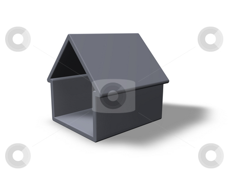 Simple house stock photo, Simple  house on white background - 3d illustration by J?