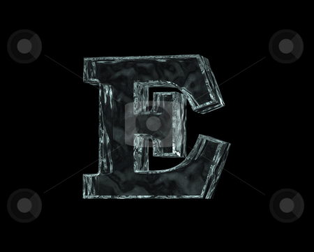 Frozen letter E stock photo, Frozen uppercase letter E on black background - 3d illustration by J?