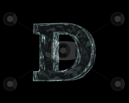 Frozen letter d stock photo, Frozen uppercase letter D on black background - 3d illustration by J?