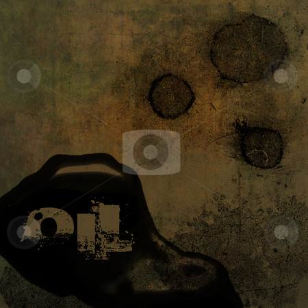 Grunge Background with Oil Text stock photo, Grunge brown dirty looking background with oil stain and oil text and copy space by Keith Wilson
