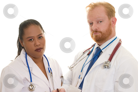 Doctors stock photo, Two doctors - man and woman - diverse.  Focus on man by Leah-Anne Thompson