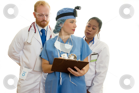 Three Medical Healthcare Staff stock photo, Doctors and surgeon meeting by Leah-Anne Thompson