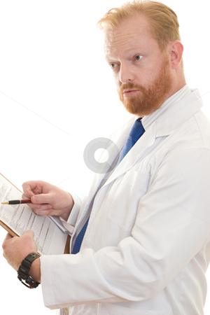 Doctor or Scientist discussing information stock photo, A doctor or scientist discussing paperwork. by Leah-Anne Thompson