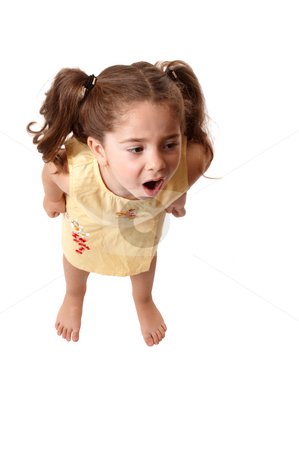 Little girl shouting,  or tantrum stock photo, A young little girl with fists clenched screams or throws a tantrum by Leah-Anne Thompson
