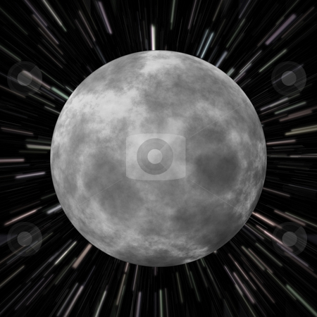 Moon Star Field stock photo, Illustration of the moon over a star field background with high speed effects to show movement. by Todd Arena