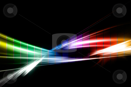 Rainbow Fractal stock photo, An abstract fractal illustration in a rainbow color scheme isolated over black. by Todd Arena