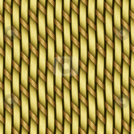 Basket Material stock photo, A yellow woven wicker material you might see in some furniture or a basket. This tiles seamlessly as a pattern in any direction. by Todd Arena