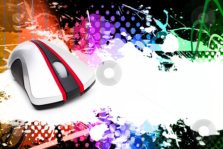 Computer Mouse Layout stock photo, A funky and rainbow colored splatter layout with a computer mouse and plenty of copy space. by Todd Arena