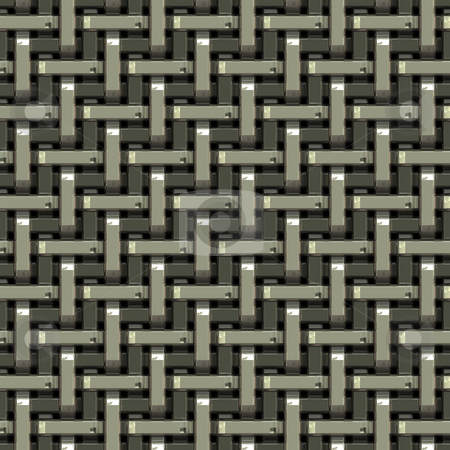 Woven Metal Texture stock photo, A seamless pattern of a silver metal grate or mesh material. by Todd Arena