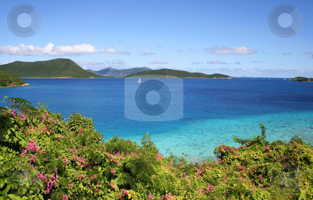 Blue Ocean off St John stock photo, Blue panorama of the ocean off the island of St John in the Caribbean by Steven Heap