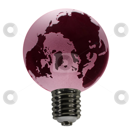 Red Globe as Bulb stock photo, An overheated earth acting as the glass globe of an electric bulb by Steven Heap