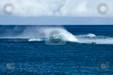 Blowing foam on Hawaiian Waves stock photo, Crashing waves off Hawaii in strong wind resulting in blowing spray by Steven Heap