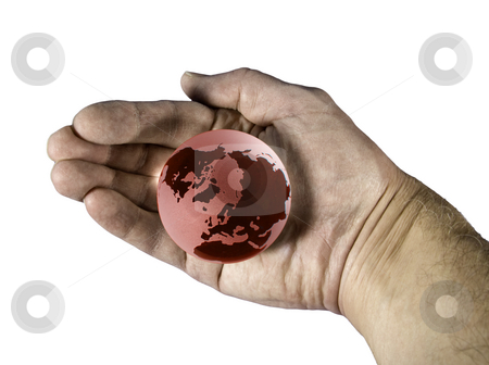 Hand enclosing red globe stock photo, Holding the overheated earth in our hands by Steven Heap