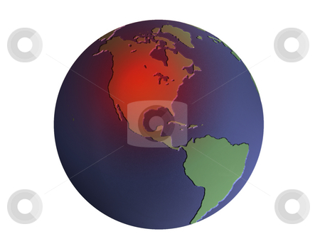 Image of Earth with red USA stock photo, Illustration of the earth in blue and green with heated area over North America by Steven Heap