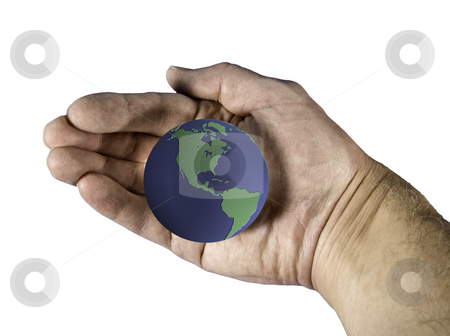 Blue and Green globe cradled in hand stock photo, An image showing the earth cradled in an old hand by Steven Heap