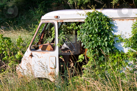 Close up of rusty van stock photo, Close up of the cab of a rusty van left in deep grass in a wooden thicket by Steven Heap