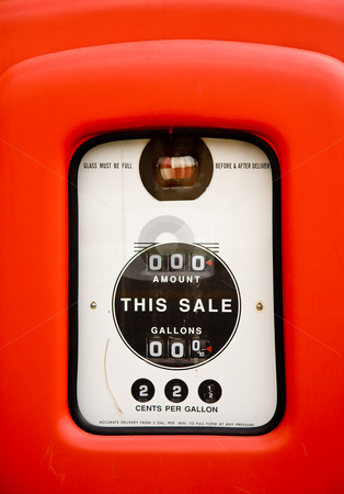Close up of vintage gas pump stock photo, Close up of gas pump screen when gas was 22 cents per gallon by Steven Heap