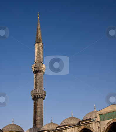 Blue Mosque 6 stock photo, Minaret on the Blue Mosque in Istanbul against a bright blue sky by Steven Heap