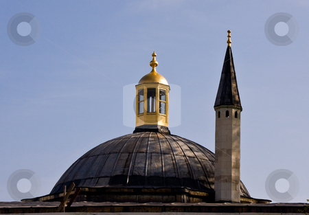 Minaret in Istanbul stock photo, Minaret and Dome on roof of Topkapi Palace in Istanbul by Steven Heap