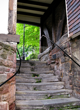 Stone steps in Shrewsbury stock photo, View up ancient stone steps in Shrewsbury in Shropshire leading to leafy area by Steven Heap