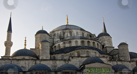 Blue Mosque 7 stock photo, Blue Mosque in Istanbul in close up showing the various domes and layers by Steven Heap