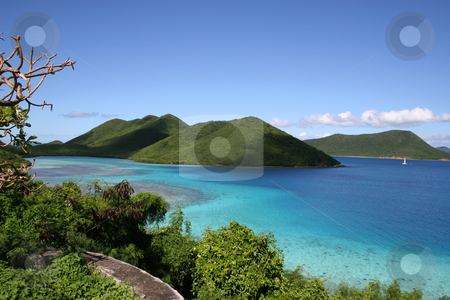 View of green islands of the coast of St John stock photo, St John island in the Caribbean showing the beautiful islands and ocean by Steven Heap