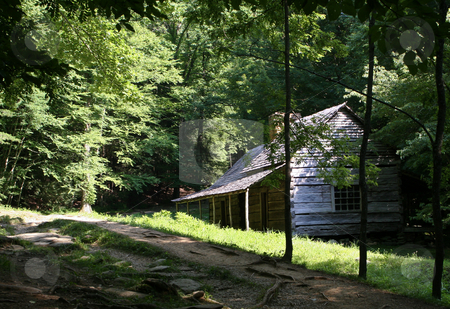 Log Cabin in Smoky Mountains stock photo, Primitive wooden building in rustic forest setting by Steven Heap