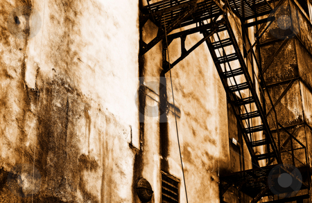Old escape stock photo, An old fire escape in an alley by Gerry Daniel