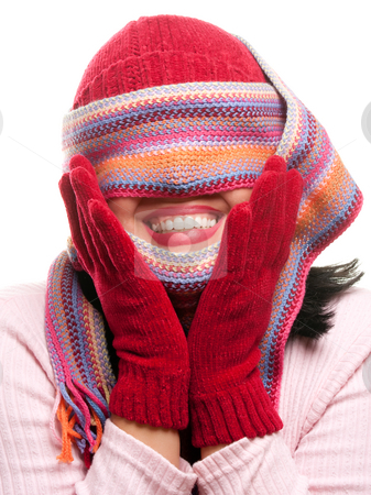 Attractive Woman With Colorful Scarf Over Eyes stock photo, Attractive Woman With Colorful Scarf Over Eyes Isolated on a White Background. by Andy Dean