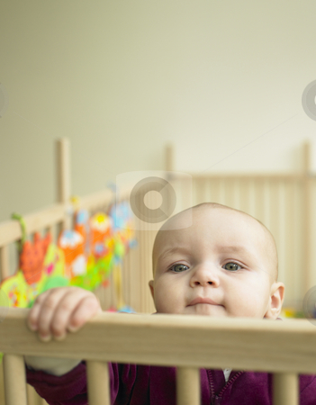 Baby Looking Out of Playpen stock photo, Child looking over the top of playpen. Vertically framed shot. by Mog Ddl