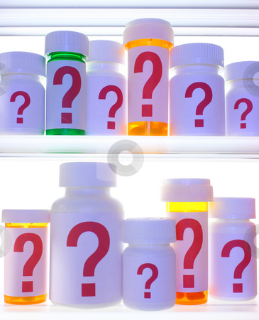 Medicine Cabinet of Questions stock photo, Close crop of medicine cabinet shelves filled with pill bottles, each labeled with a red question mark.  The bottles and shelves are  lit with cooler blue light and are strongly backlit with white light. by Mark Carrel