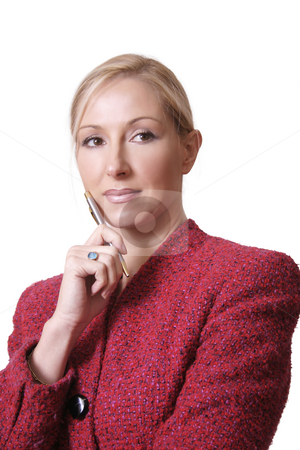 Writers block stock photo, A woman with pen in hand, paused for thought by Leah-Anne Thompson