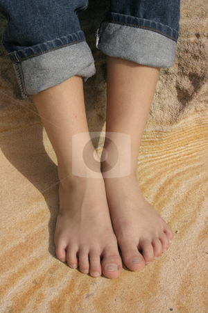 FEET stock photo, Feet on a pattern of sand by Leah-Anne Thompson