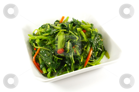 Healthy Greens Steamed Vegetables stock photo, Healthy Greens Steamed Vegetables Isolated on a White Plate by Kheng Ho Toh