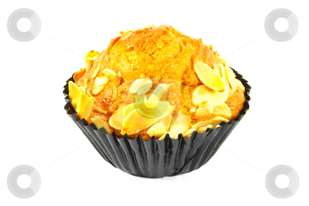 Almond Banana Cupcake stock photo, Almond Banana Cupcake Isolated on a White Background by Kheng Ho Toh