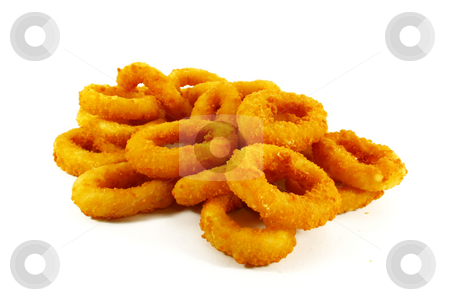 Fast Food Popular Side Dish of Onion Rings stock photo, Fast Food Popular Side Dish of Onion Rings on White Background by Kheng Ho Toh
