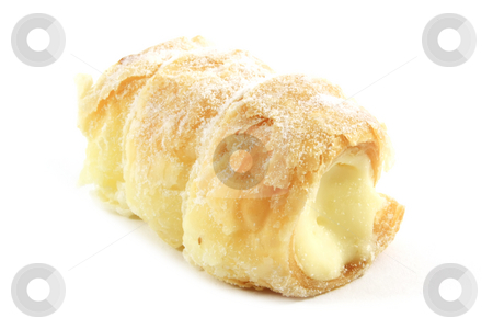 Cream Filled Cone Pastry stock photo, Cream Filled Cone Pastry Isolated on a White Background by Kheng Ho Toh