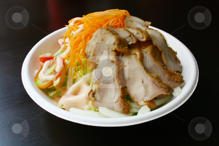 Salad With Chicken Slices stock photo, Salad With Chicken Slices on a Black Texture Table by Kheng Ho Toh