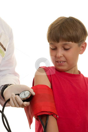 Blood Pressure stock photo, A doctor using a bp cuff (sphygmomanometer)  to take a child's blood pressure.  The blood pressure is measured in terms of millimetres of mercury (mmHg).  High blood pressure in children can be caused by other diseases -- usually heart or kidney disease. This is called secondary hypertension by Leah-Anne Thompson