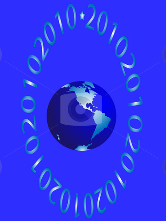 The western hemisphere stock photo, The western hemisphere and figures on blue background by Alina Starchenko