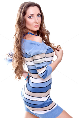 Beautiful woman in a striped dress stock photo, Beautiful woman in a striped dress on a white background isolated by Artem Zamula