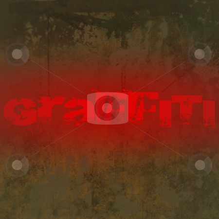 Grunge Background with Graffiti Text stock photo, Grunge brown dirty looking background with brown stains and red graffiti text and copy space by Keith Wilson