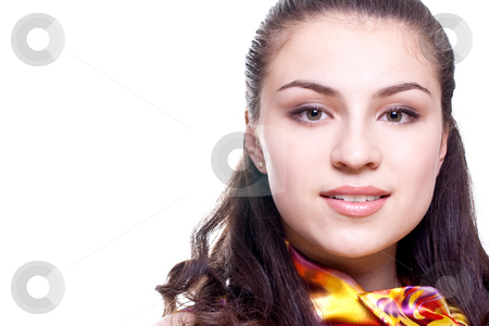Beautiful women in a colored blouse stock photo, Beautiful women in a colored blouse on a white background isolated by Artem Zamula